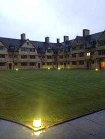 wills hall at night